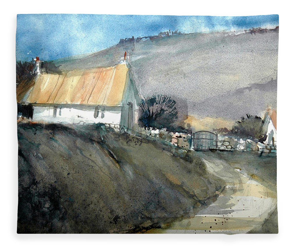 Devon Fleece Blanket featuring the painting Devonshire Farm by Charles Rowland