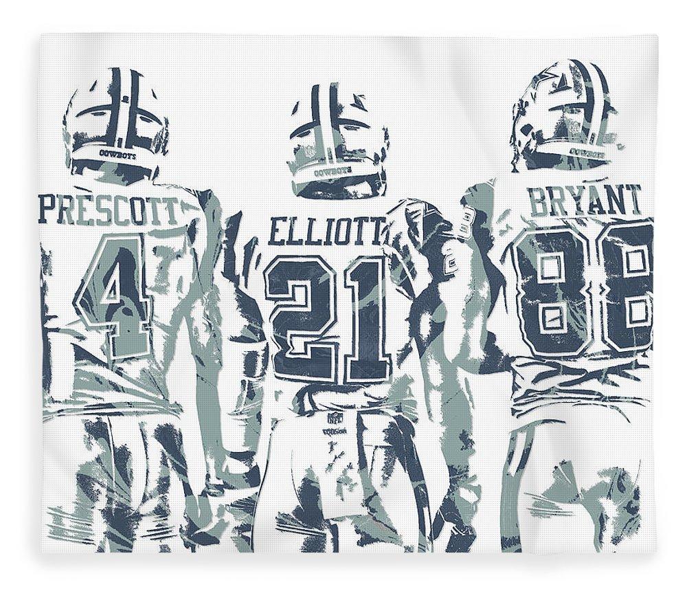 Dez Bryant Ezekiel Elliott Dak Prescott Fleece Blanket featuring the mixed media Dez Bryant Ezekiel Elliott Dak Prescott Dallas Cowboys Pixel Art by Joe Hamilton