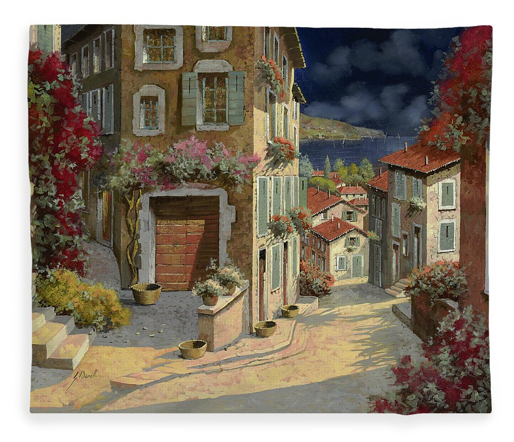 Seascape Fleece Blanket featuring the painting Di Notte Al Mare by Guido Borelli