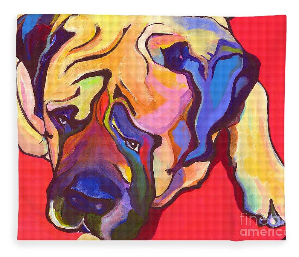 Mastiff Fleece Blanket featuring the painting Diesel  by Pat Saunders-White