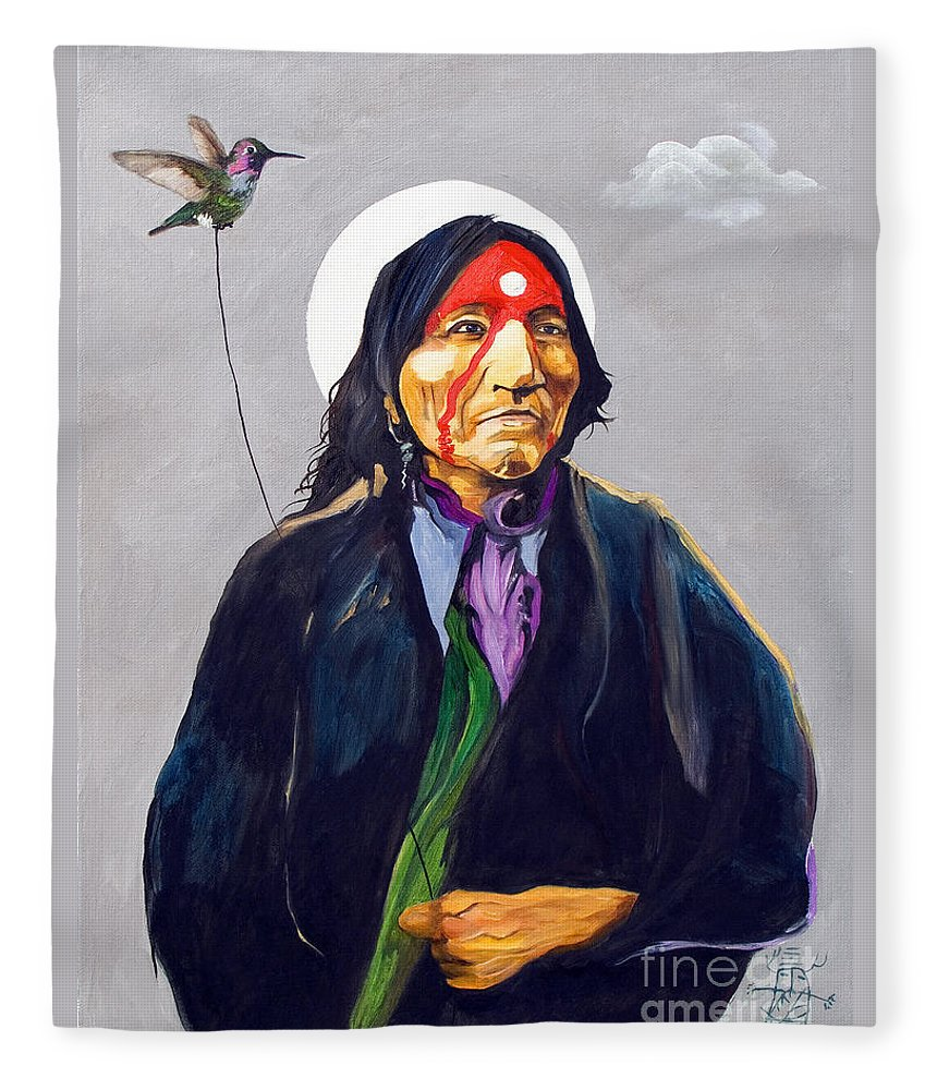 Shaman Fleece Blanket featuring the painting Direct Connection by J W Baker