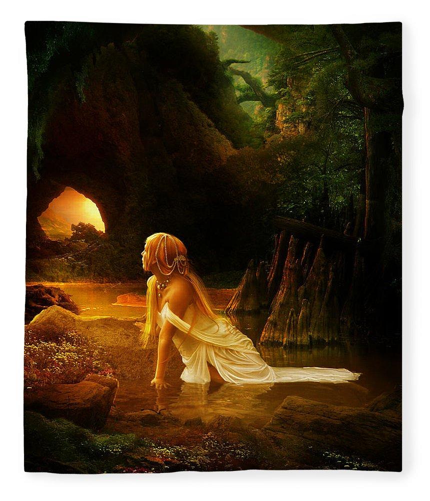 Cave Fleece Blanket featuring the digital art Distant Horizon by Karen Koski