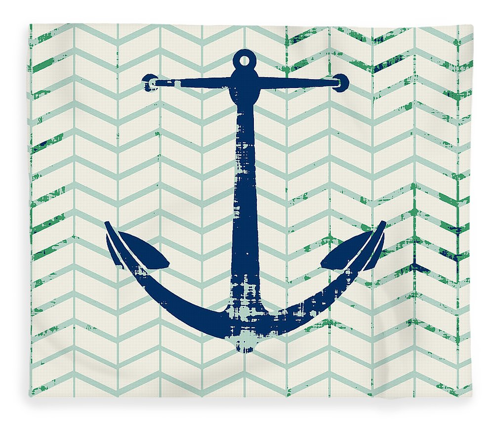 Brandi Fitzgerald Fleece Blanket featuring the digital art Distressed Navy Anchor v2 by Brandi Fitzgerald