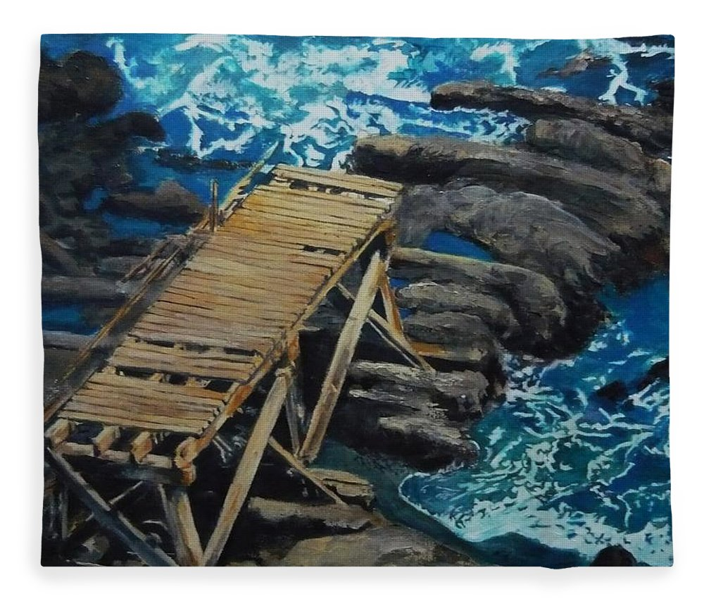 Dock Fleece Blanket featuring the painting Dock by Travis Day