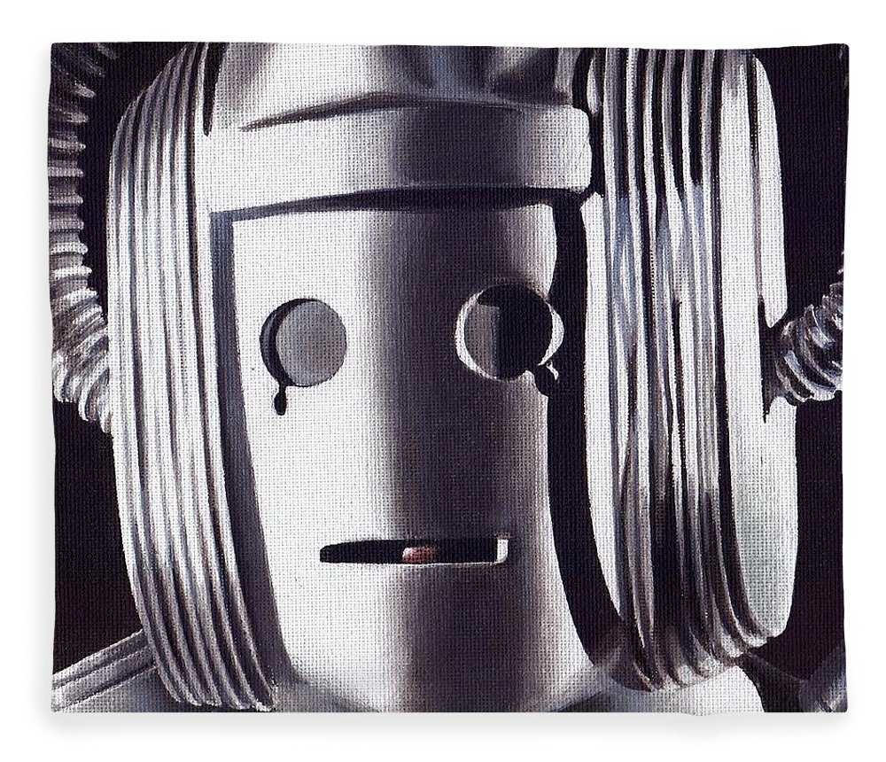 Doctor Who Fleece Blanket featuring the painting Doctor Who - Cyberman On Voga by Marc D Lewis