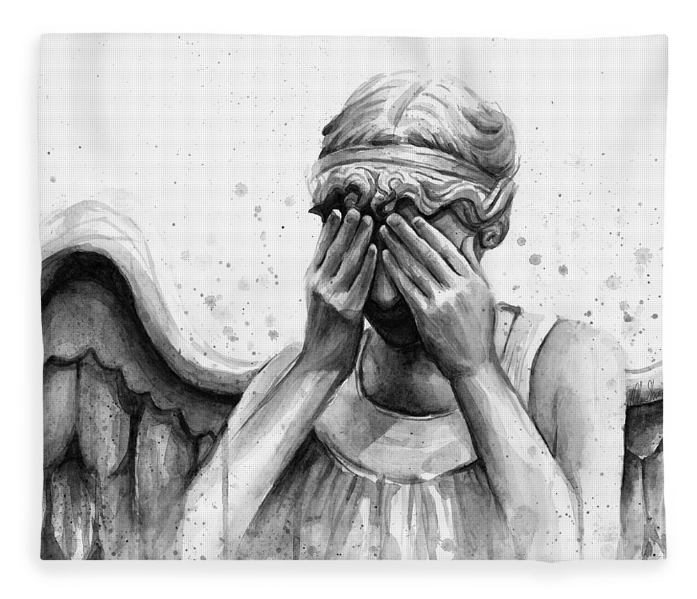 Who Fleece Blanket featuring the painting Doctor Who Weeping Angel Don't Blink by Olga Shvartsur