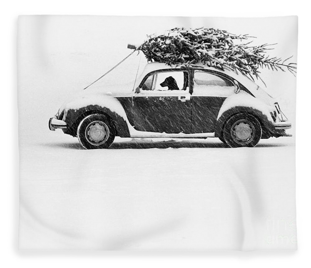 Animal Fleece Blanket featuring the photograph Dog In Car by Ulrike Welsch and Photo Researchers