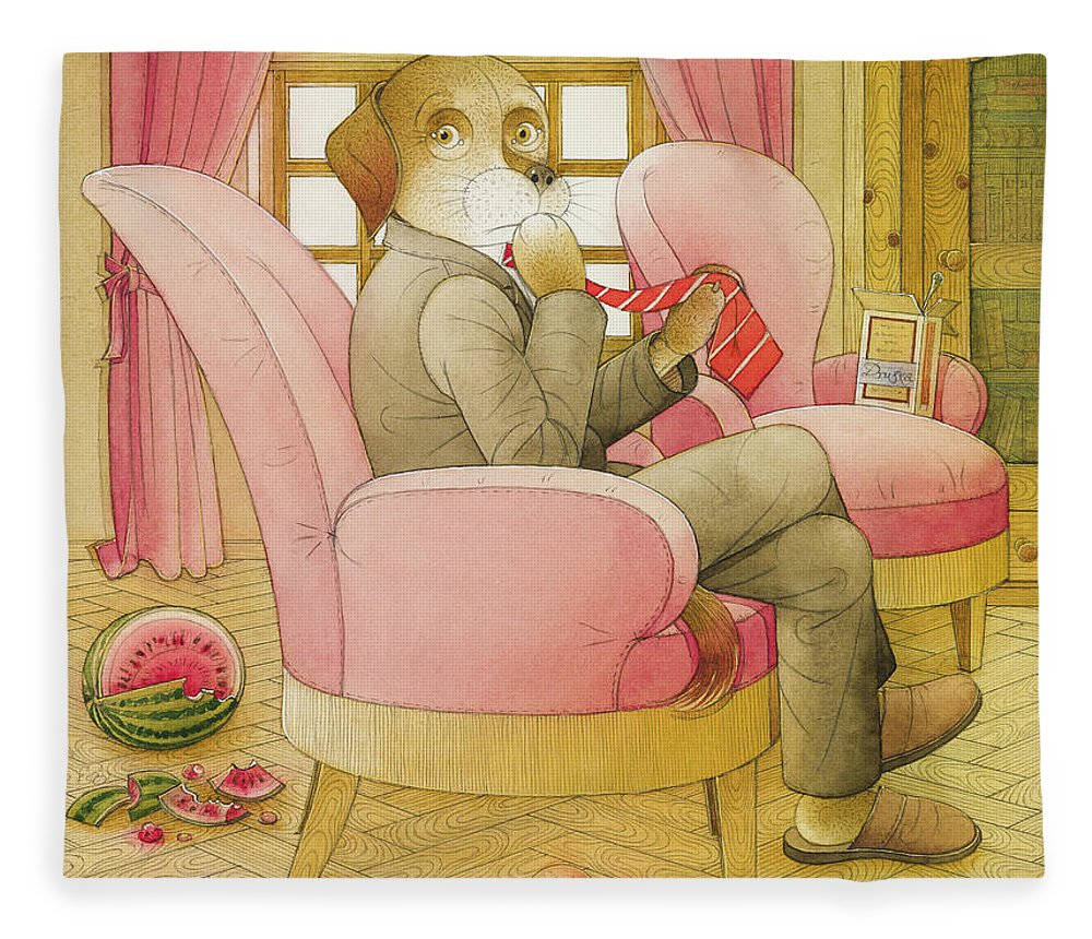 Dog Life Lifestyle Room Apartments Armchair Red Illustration Children Book Drawing Suit Fleece Blanket featuring the painting Dogs Life09 by Kestutis Kasparavicius