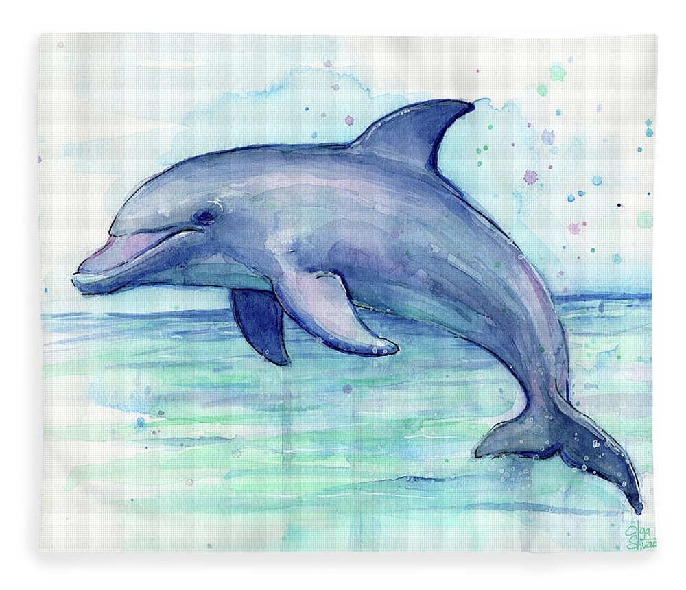 Dolphin Fleece Blanket featuring the painting Dolphin Watercolor by Olga Shvartsur