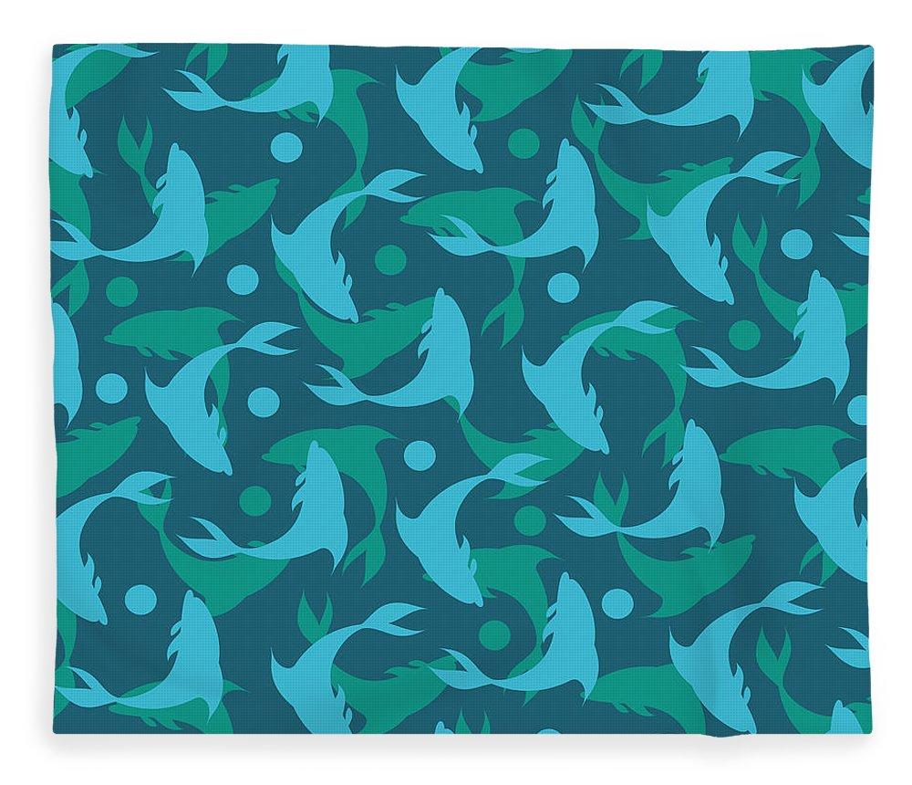 Dolphins Fleece Blanket featuring the photograph Dolphins In Blue by Mark Ashkenazi