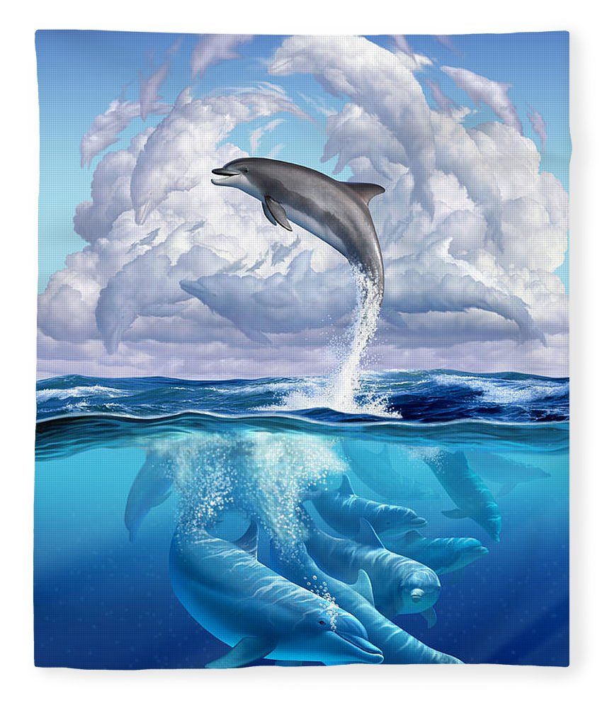 Dolphins Fleece Blanket featuring the digital art Dolphonic Symphony by Jerry LoFaro
