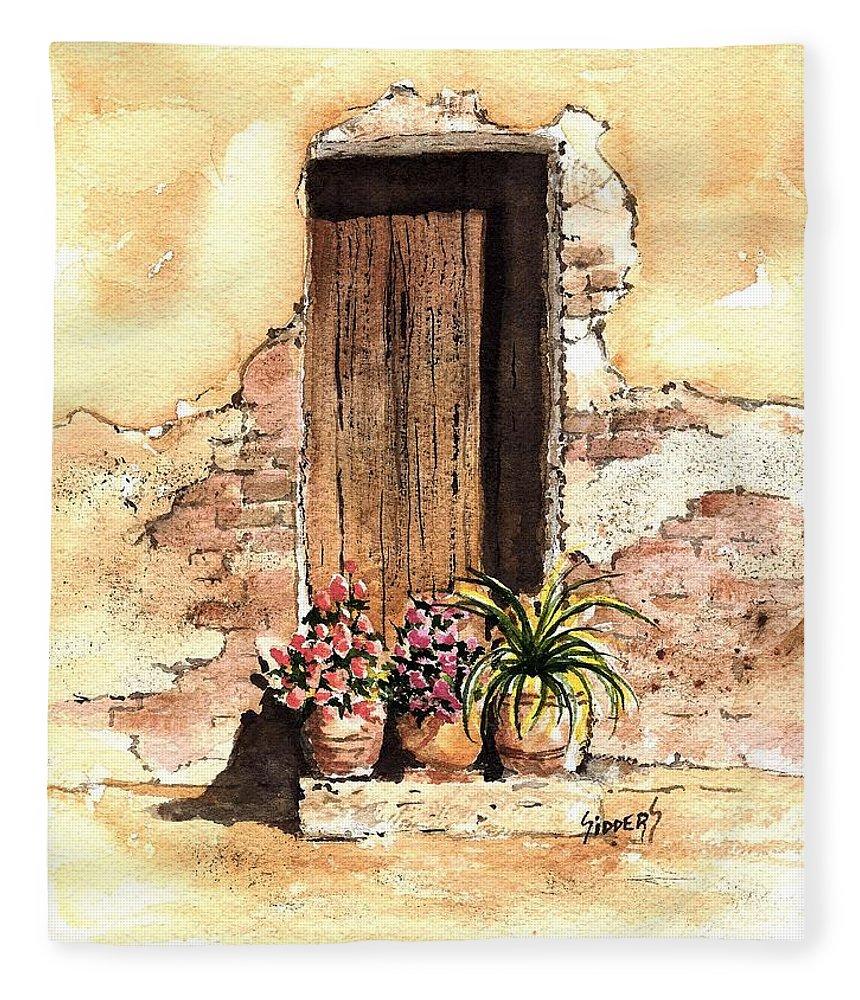 Door Fleece Blanket featuring the painting Door With Flowers by Sam Sidders