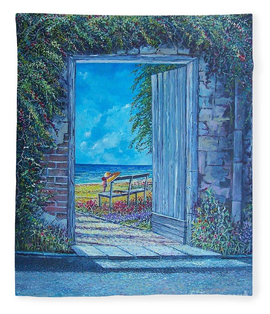 Original Painting Fleece Blanket featuring the painting Doorway To ... by Sinisa Saratlic