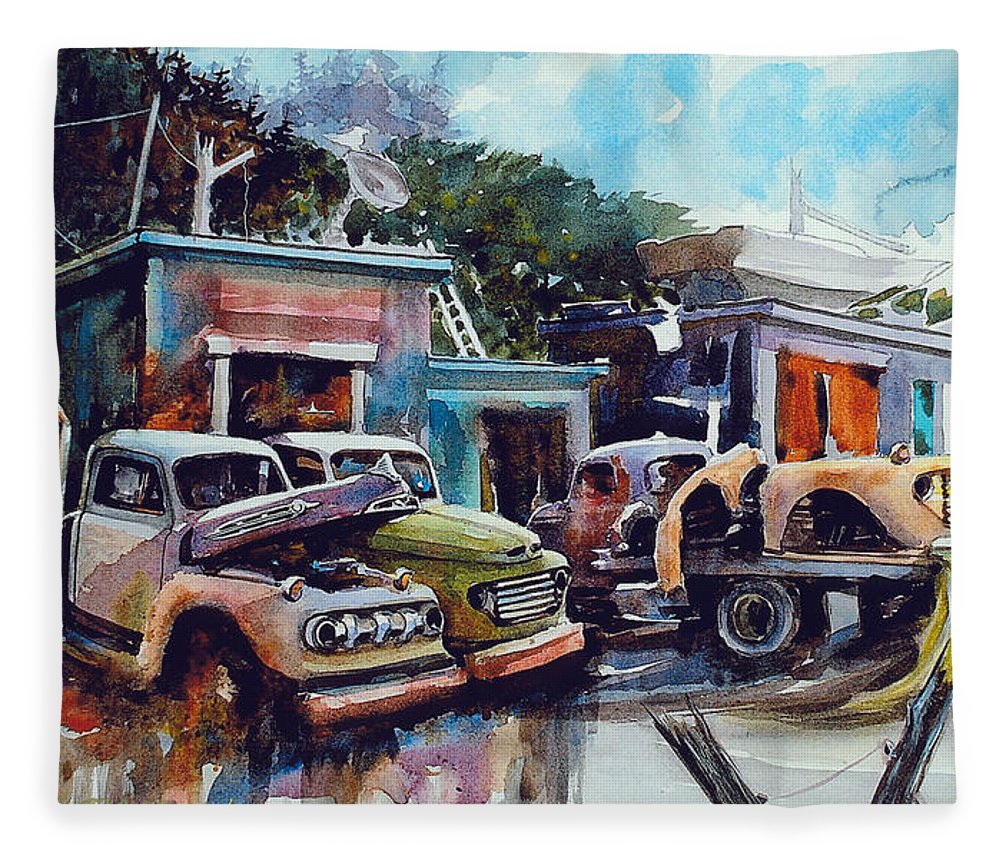 Trucks Fleece Blanket featuring the painting Down on the Lower Road by Ron Morrison