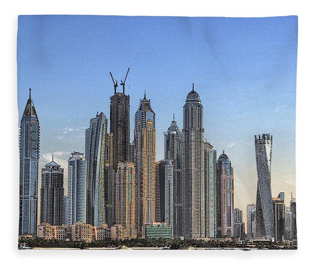 City Fleece Blanket featuring the digital art Downtown Dubai by Sandeep Gangadharan