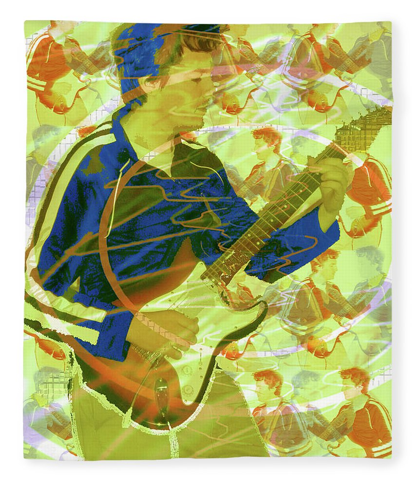 Dr. Guitar Fleece Blanket featuring the photograph Dr. Guitar by Seth Weaver