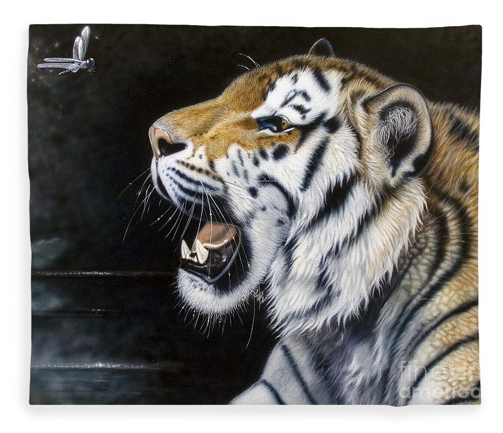 Tiger Fleece Blanket featuring the painting Dragonfly by Sandi Baker