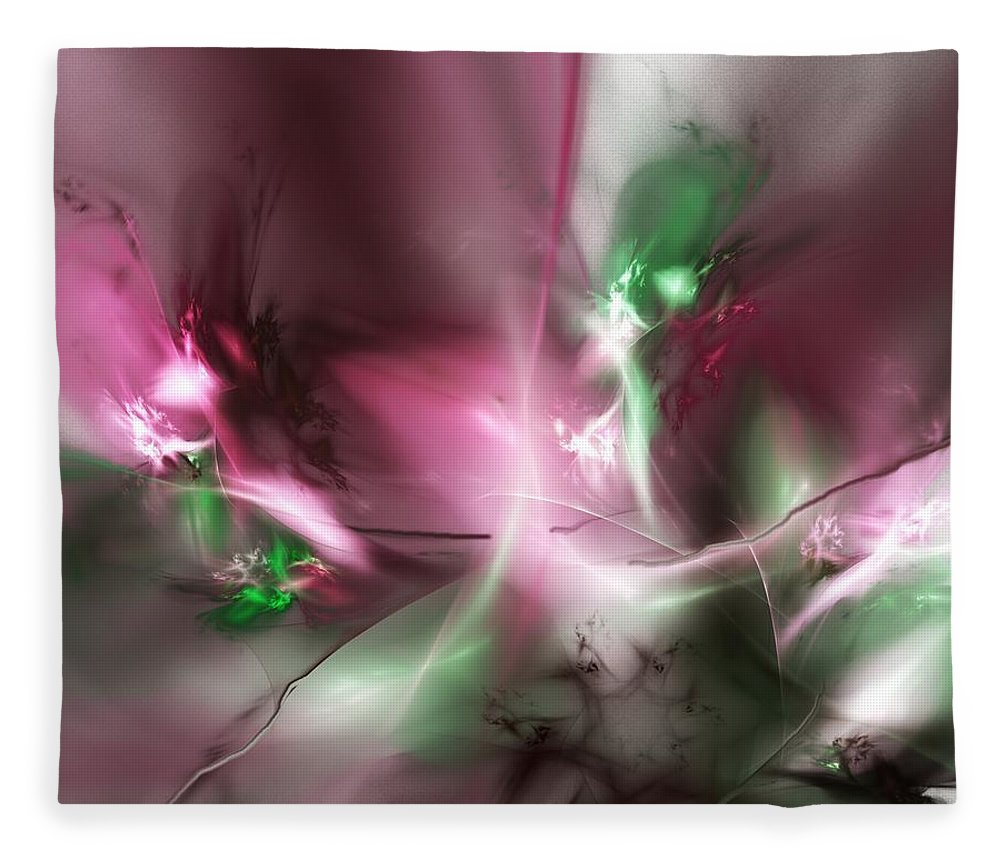 Fractal Fleece Blanket featuring the digital art Dreaming in Red and Green by David Lane