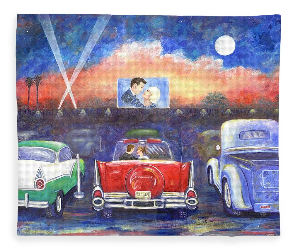 Cars Fleece Blanket featuring the painting Drive-in Movie Theater by Linda Mears