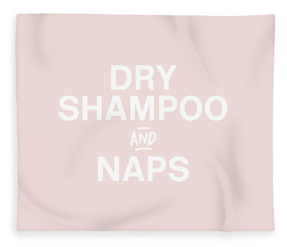 Blush Fleece Blanket featuring the mixed media Dry Shampoo And Naps Blush- Art By Linda Woods by Linda Woods