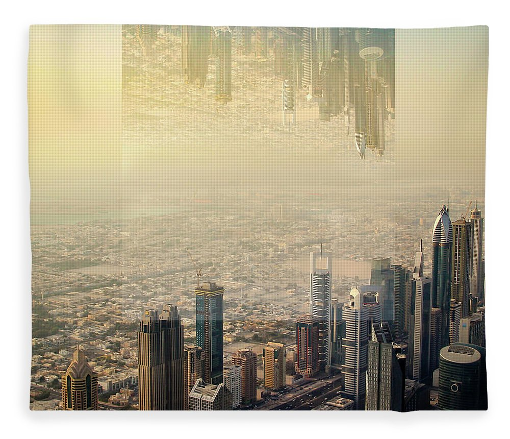 Dubai Fleece Blanket featuring the photograph Dubai Skyline, Double Exposure by Aashish Vaidya