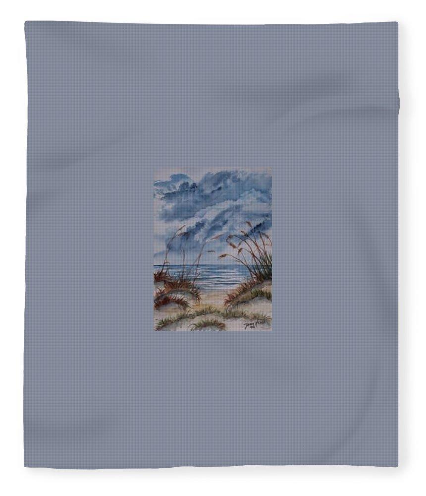 Watercolor Landscape Painting Seascape Beach Fleece Blanket featuring the painting DUNES seascape fine art poster print seascape by Derek Mccrea