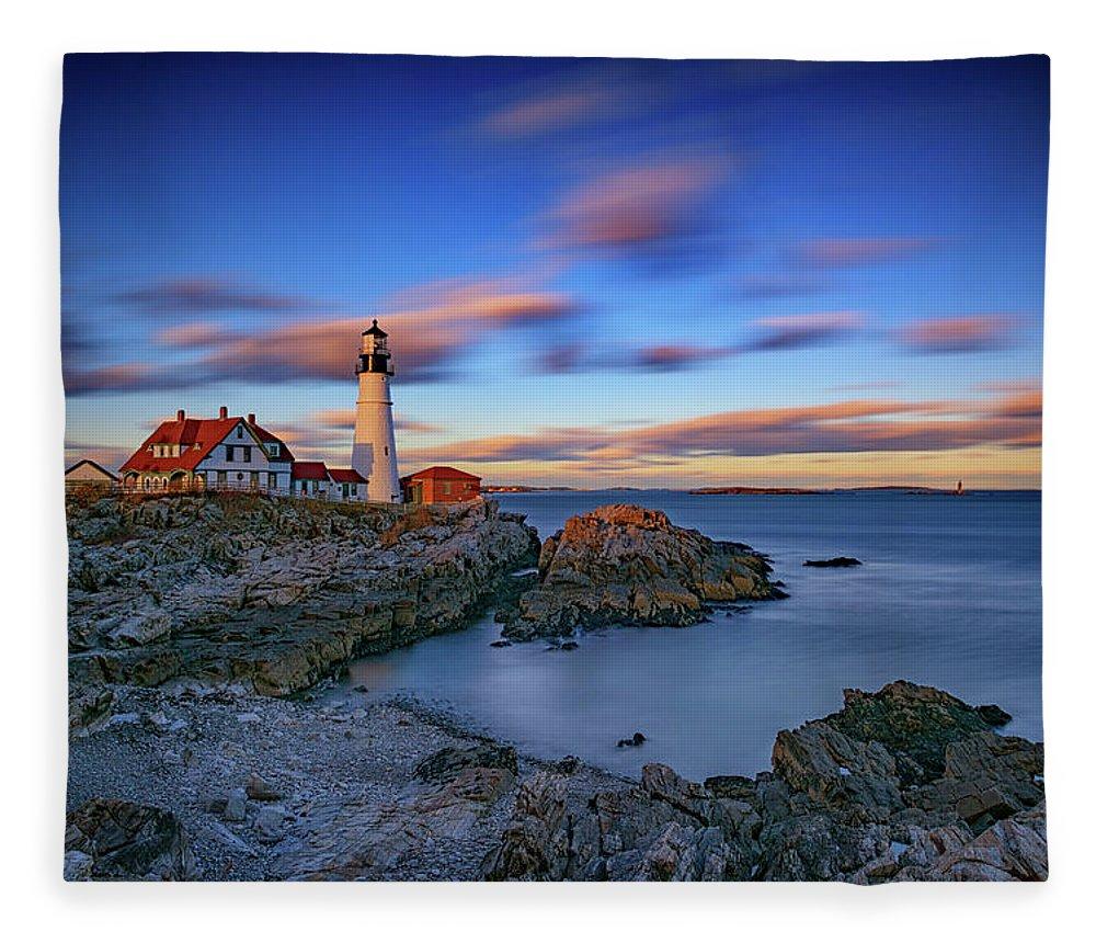 Portland Head Lighthouse Fleece Blanket featuring the photograph Dusk At Portland Head Lighthouse by Rick Berk