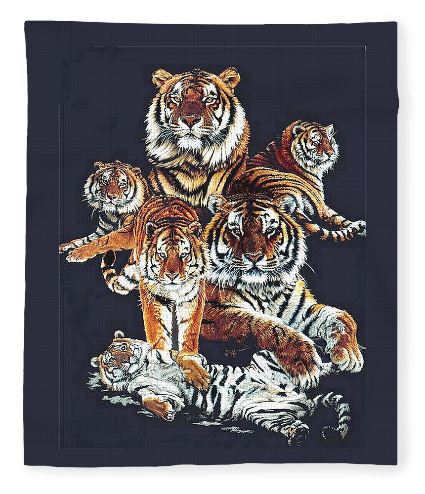 Tiger Fleece Blanket featuring the drawing Dynasty by Barbara Keith