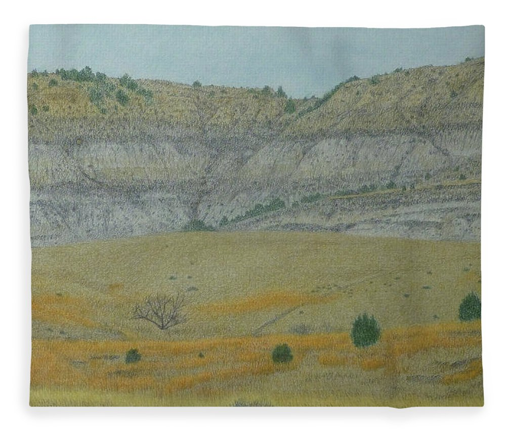 North Dakota Badlands Fleece Blanket featuring the pastel Early May On The Western Edge by Cris Fulton