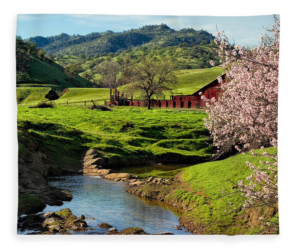 Farm Fleece Blanket featuring the photograph Early Spring In The Valley by Kathleen Bishop