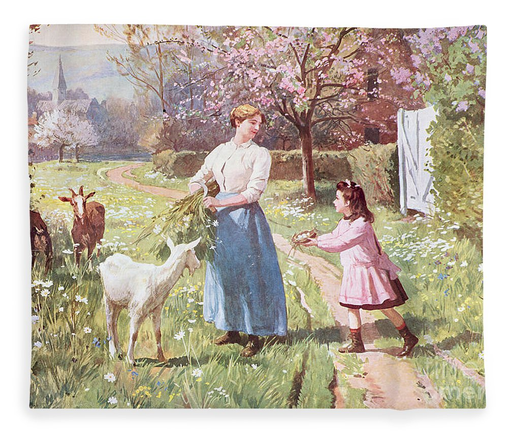 Easter Fleece Blanket Featuring The Painting Eggs In Country By Victor Gabriel Gilbert