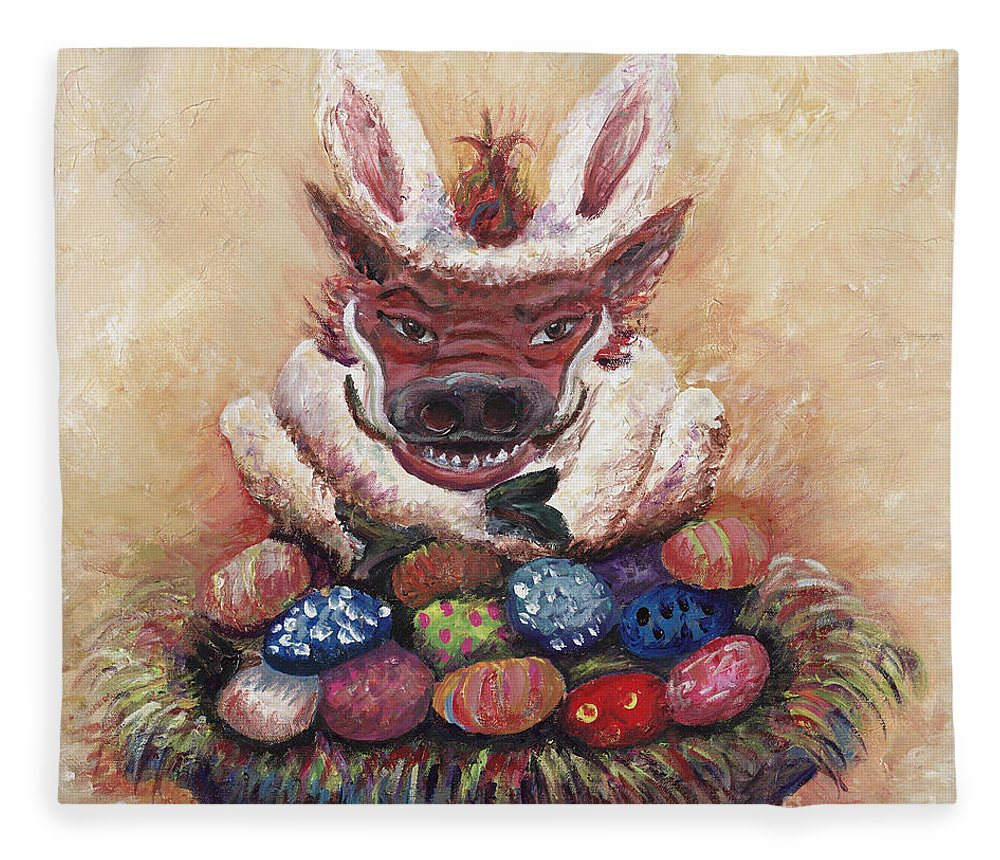 Easter Fleece Blanket featuring the painting Easter Hog by Nadine Rippelmeyer