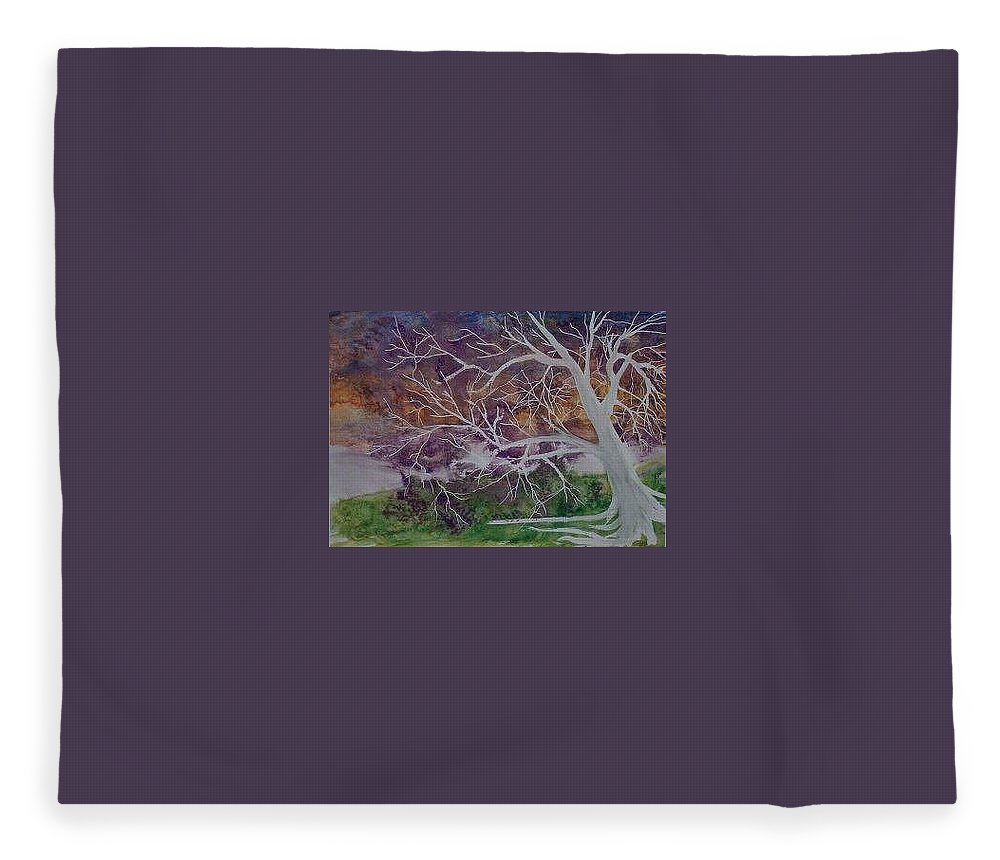 Watercolor Fleece Blanket featuring the painting EERIE gothic landscape fine art surreal print by Derek Mccrea