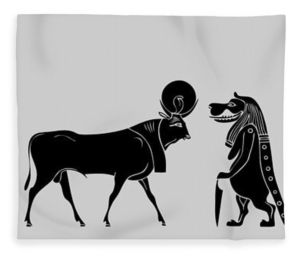 Egypt Fleece Blanket featuring the digital art Egyptian Gods by Michal Boubin