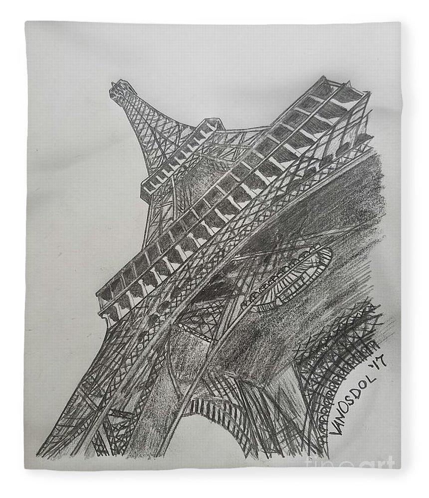 Realism fleece blanket featuring the drawing eiffel tower graphite pencil sketch by scott d van osdol