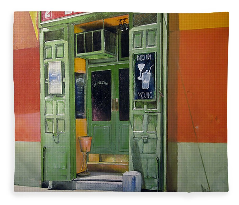 Hecho Fleece Blanket featuring the painting El Hecho Pub by Tomas Castano