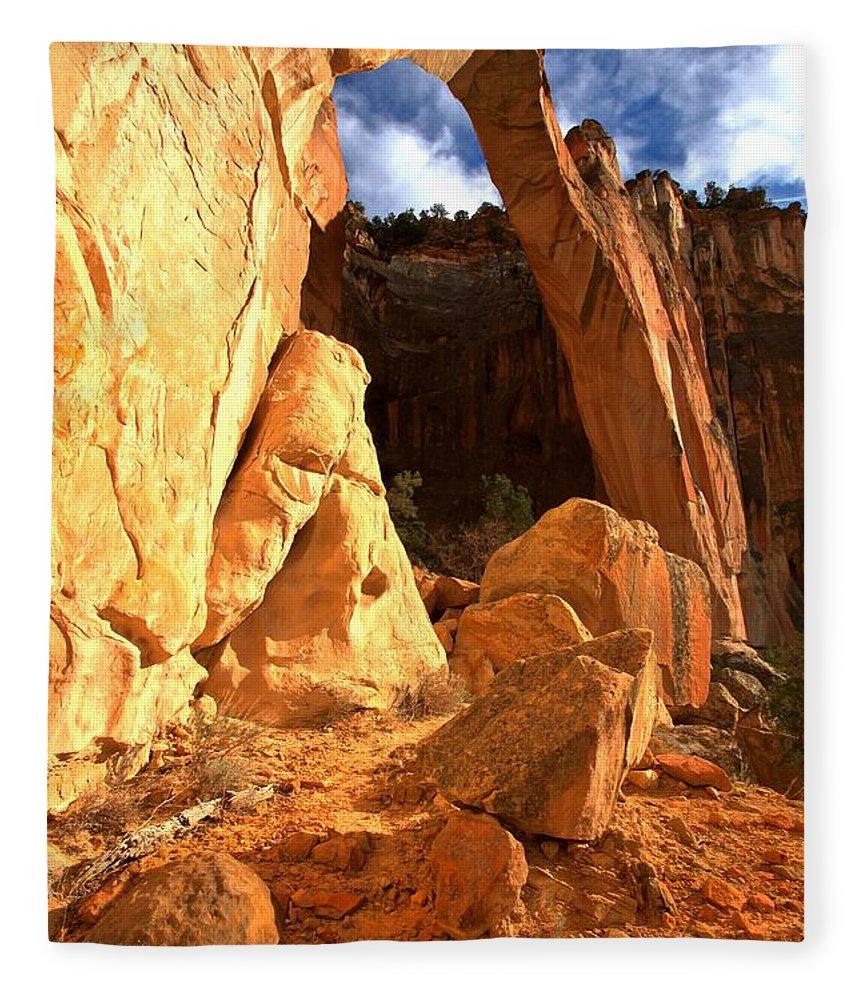 El Malpais Fleece Blanket featuring the photograph El Malpais La Ventana Arch by Adam Jewell