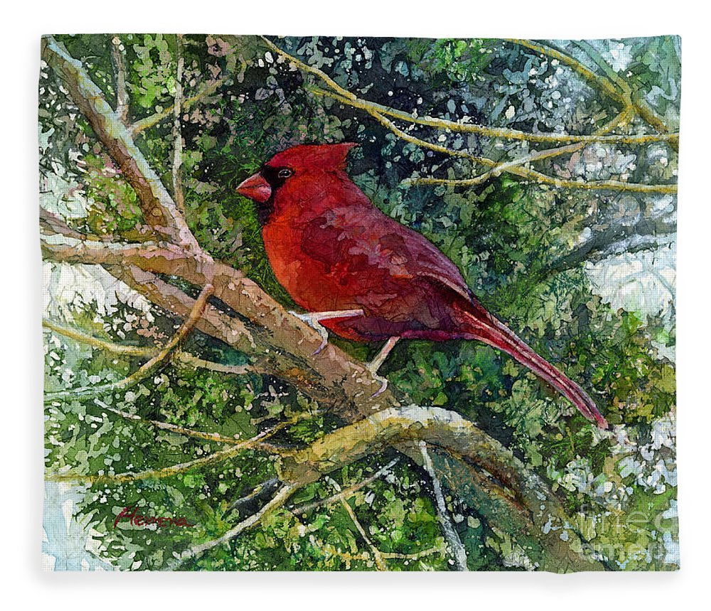 Cardinal Fleece Blanket featuring the painting Elegance in Red by Hailey E Herrera