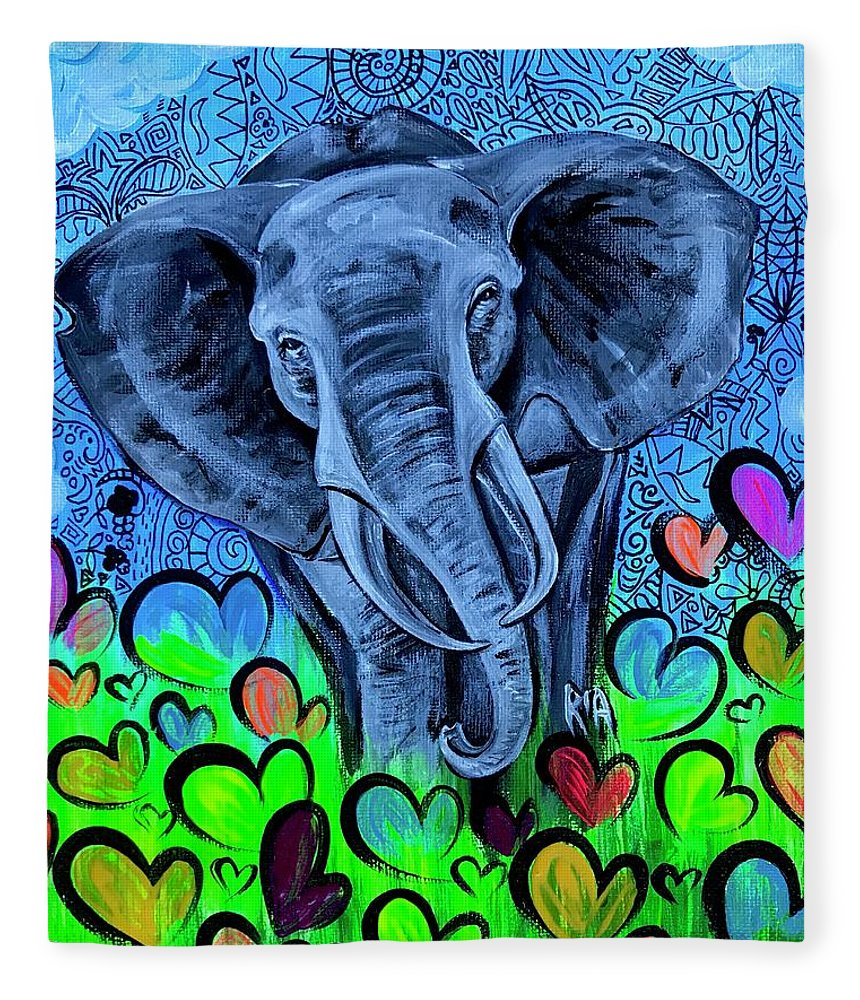 Elephant Fleece Blanket featuring the painting Elley by Artist RiA