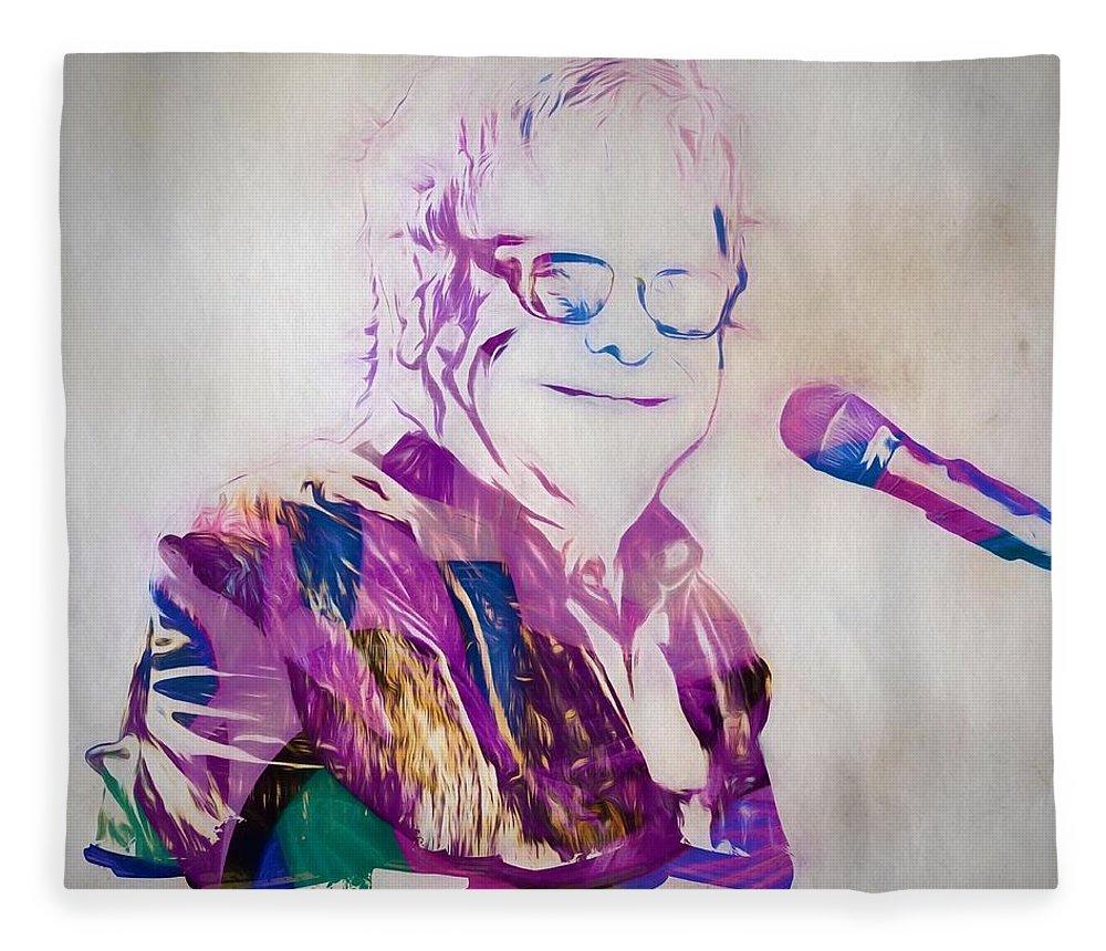 Elton John Fleece Blanket featuring the painting Elton John by Dan Sproul