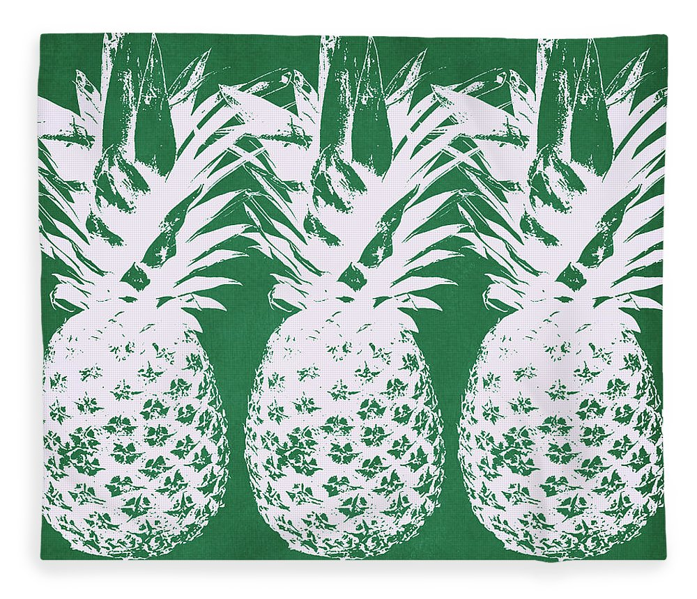 Pineapple Fleece Blanket featuring the mixed media Emerald Pineapples- Art By Linda Woods by Linda Woods