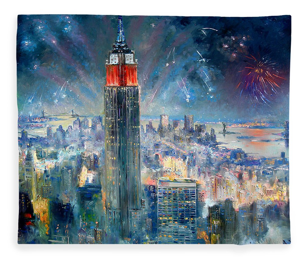 Empire State Building Fleece Blanket featuring the painting Empire State Building In 4th Of July by Ylli Haruni