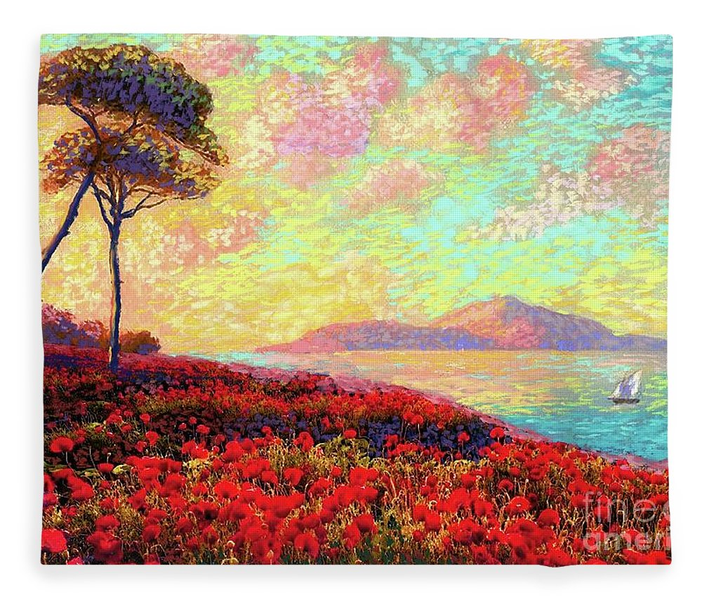 Wildflower Fleece Blanket featuring the painting Enchanted By Poppies by Jane Small