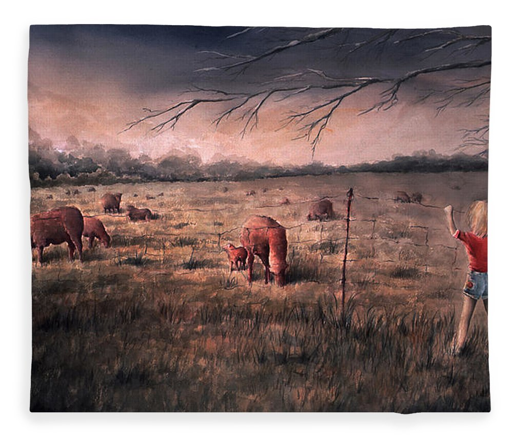 Landscape Fleece Blanket featuring the painting A childhood by William Russell Nowicki