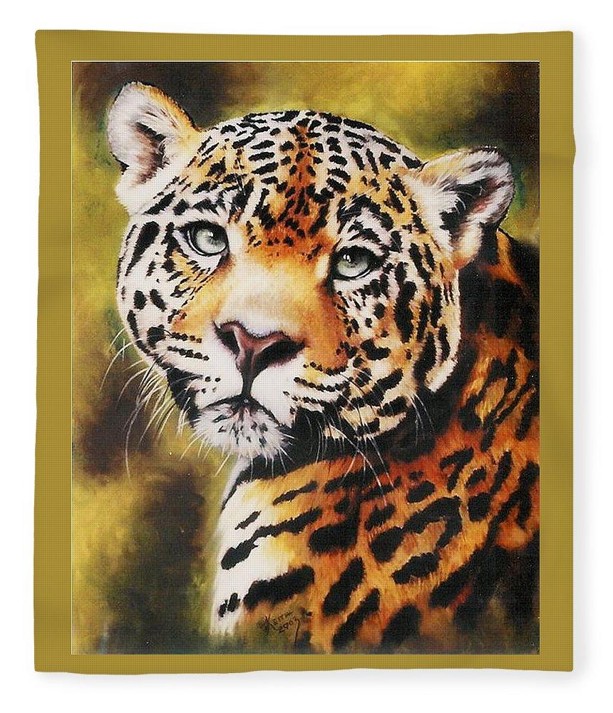 Jaguar Fleece Blanket featuring the pastel Enchantress by Barbara Keith