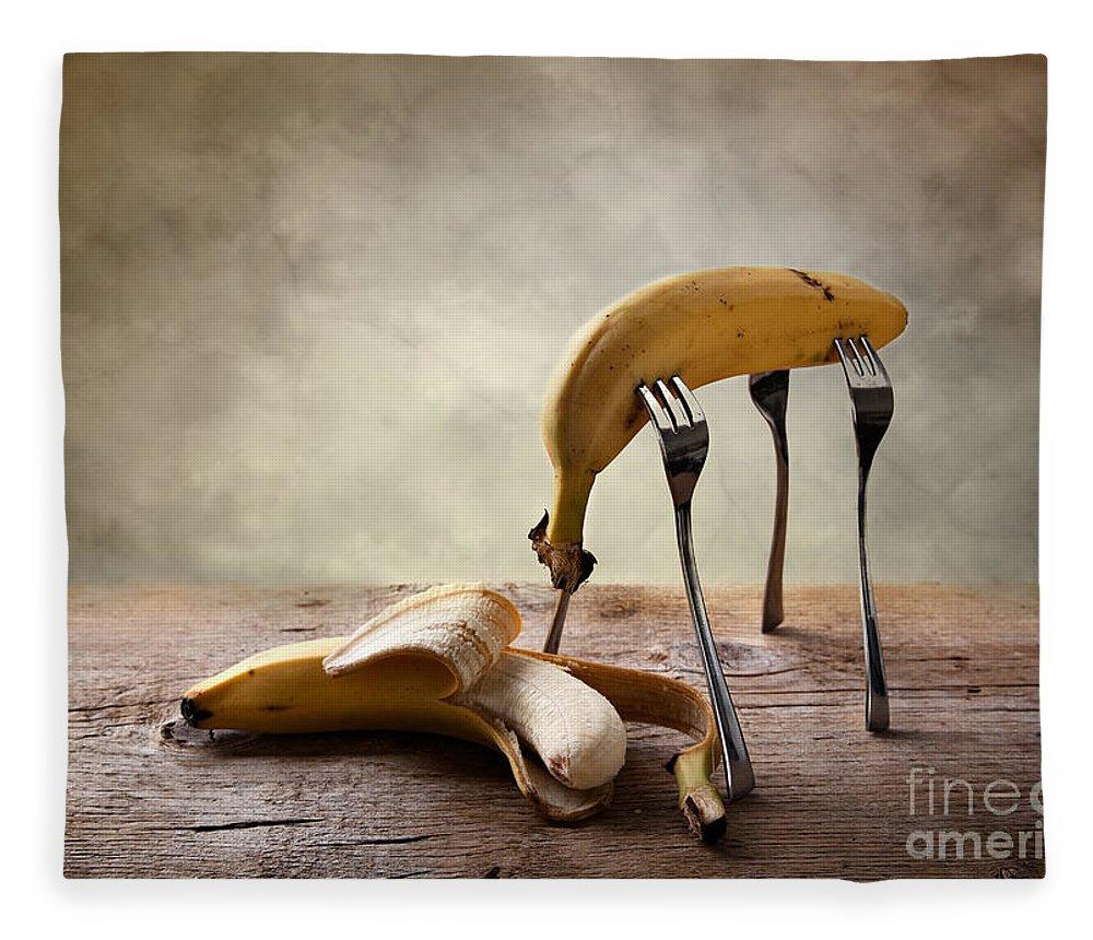 Banana Fleece Blanket featuring the photograph Encounter by Nailia Schwarz