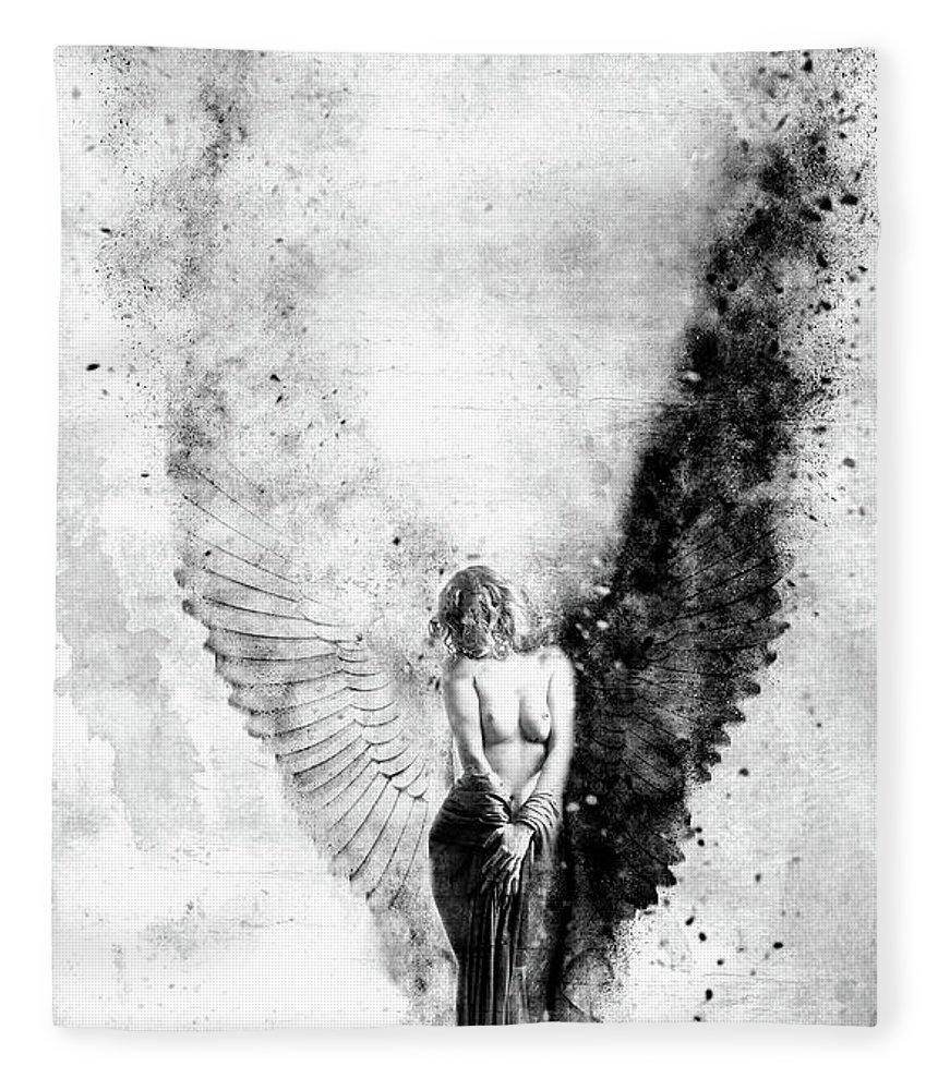 Emotional Fleece Blanket featuring the painting End Of Innocence by Jacky Gerritsen