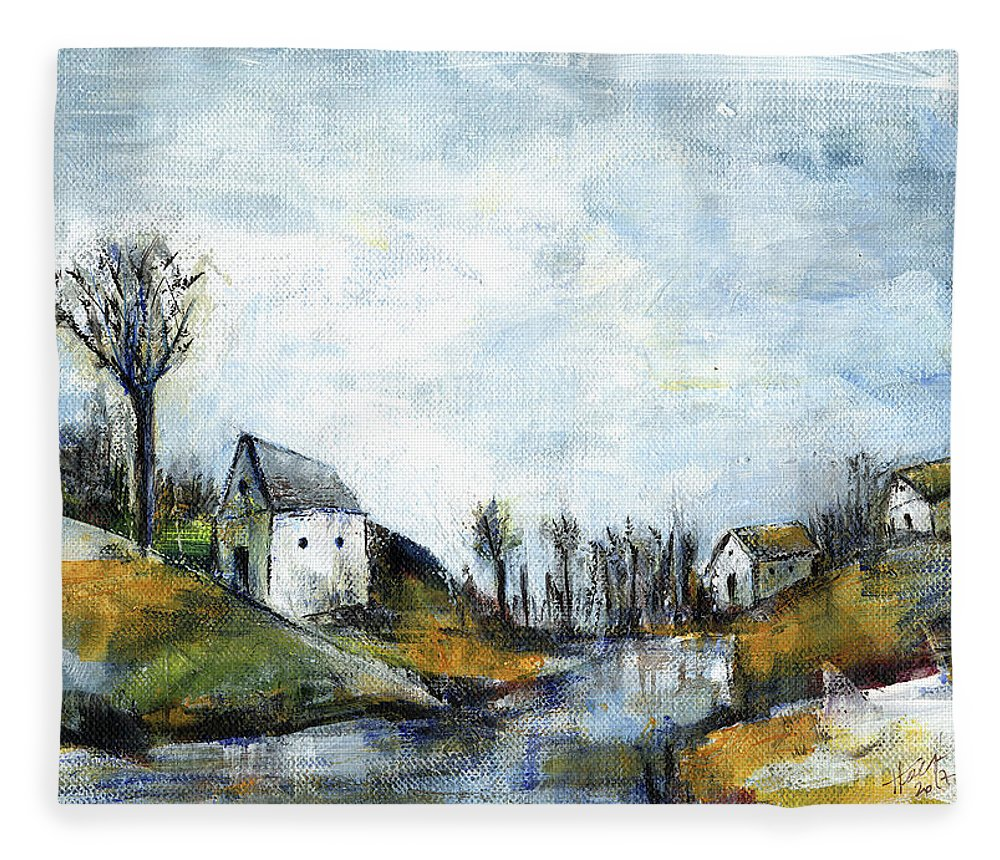 Landscape Fleece Blanket featuring the painting End Of Winter - Acrylic Landscape Painting On Cotton Canvas by Aniko Hencz