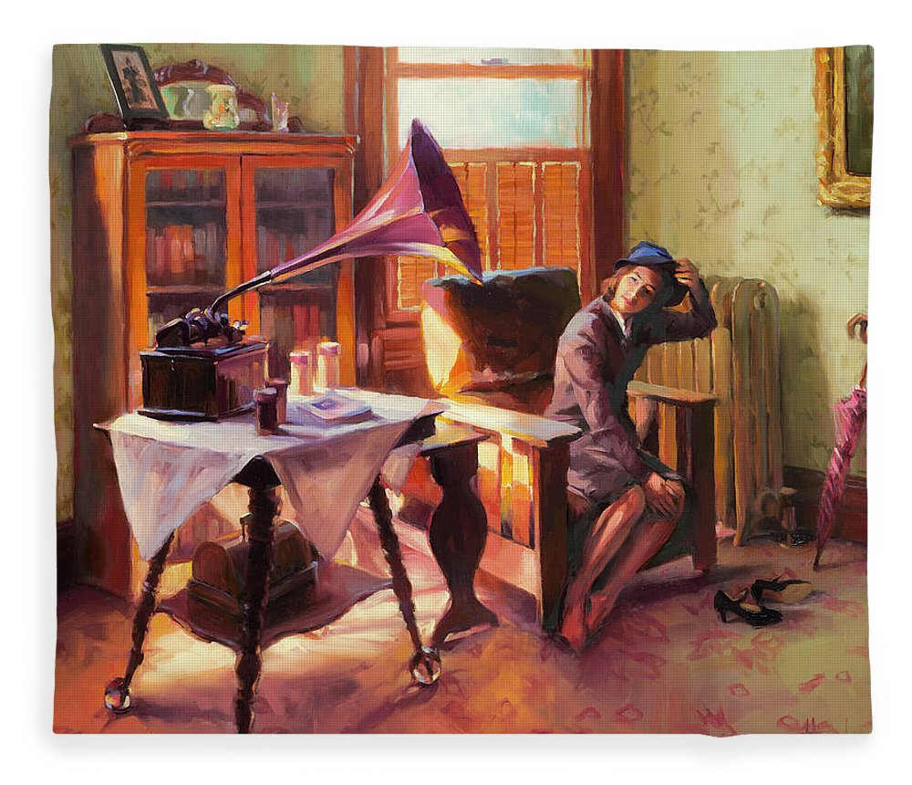 Nostalgia Fleece Blanket featuring the painting Ending The Day On A Good Note by Steve Henderson
