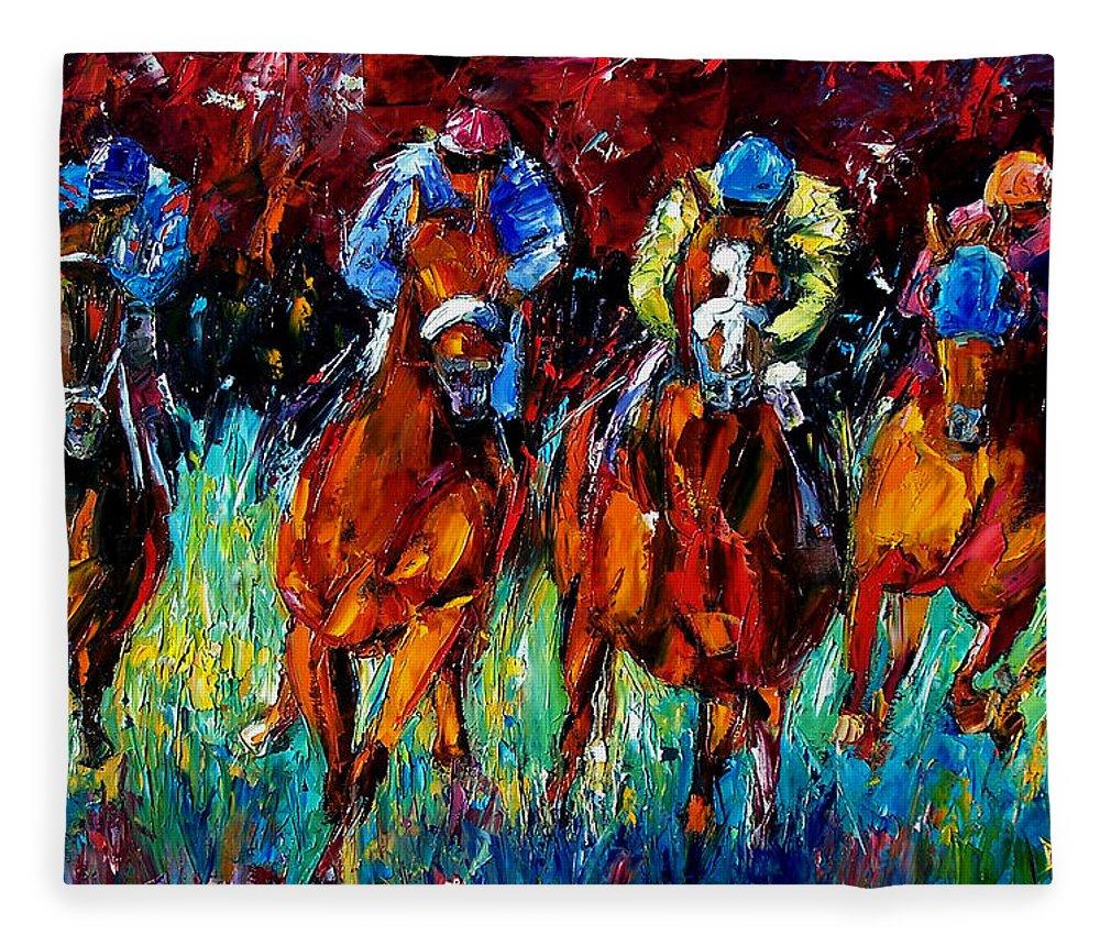 Horse Race Fleece Blanket featuring the painting Endurance by Debra Hurd